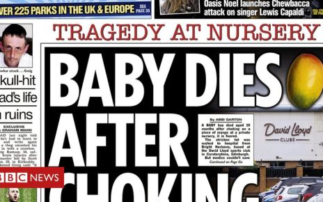 107845578 sun - Scotland's newspapers: Nursery choking death and 'lab rats' claims