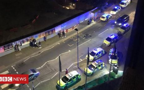 107871999 lombard scene - Battersea crash: Sixth arrest after car driven at group
