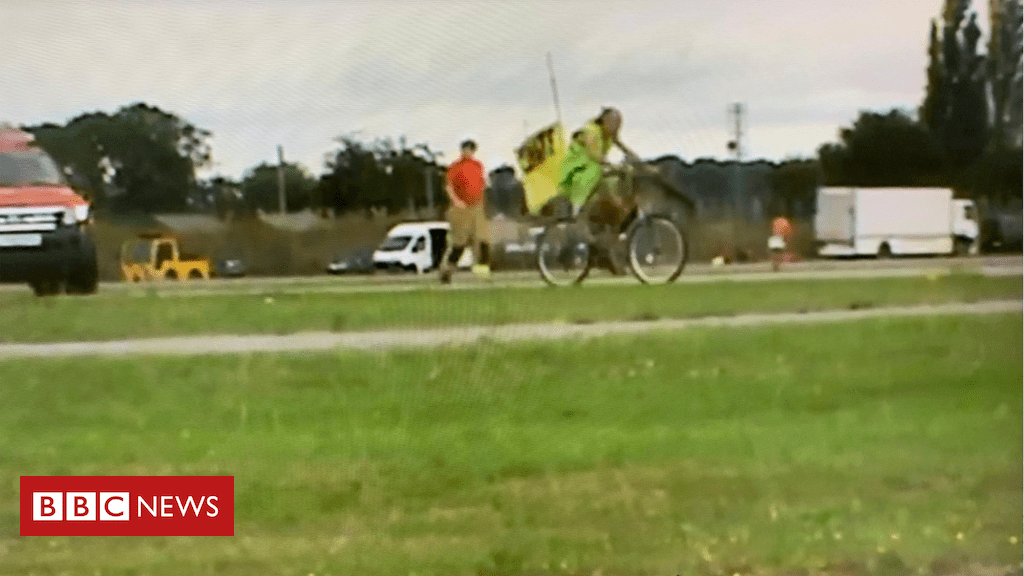 107873740 capture - Climate protester arrested for cycling on RNAS Yeovilton runway