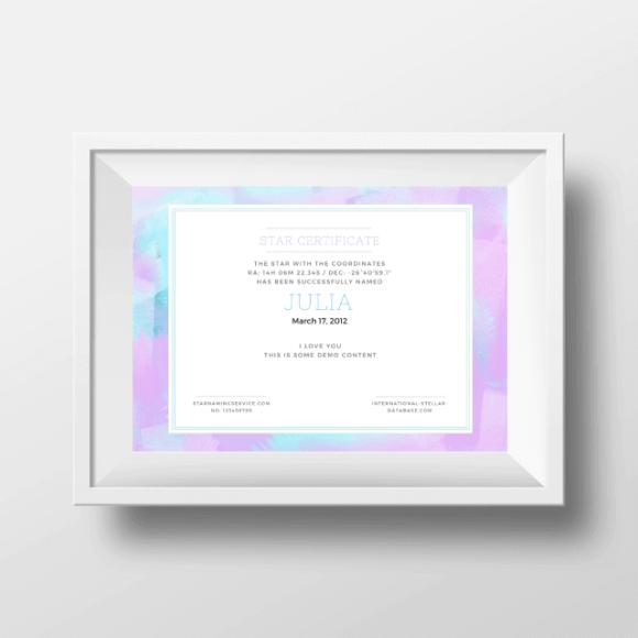 Name A Star Certificate 4