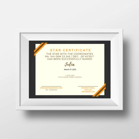 Buy A Star Certificate 6