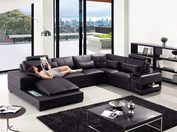 модели угловых диванов с выдвижными столиками и баром