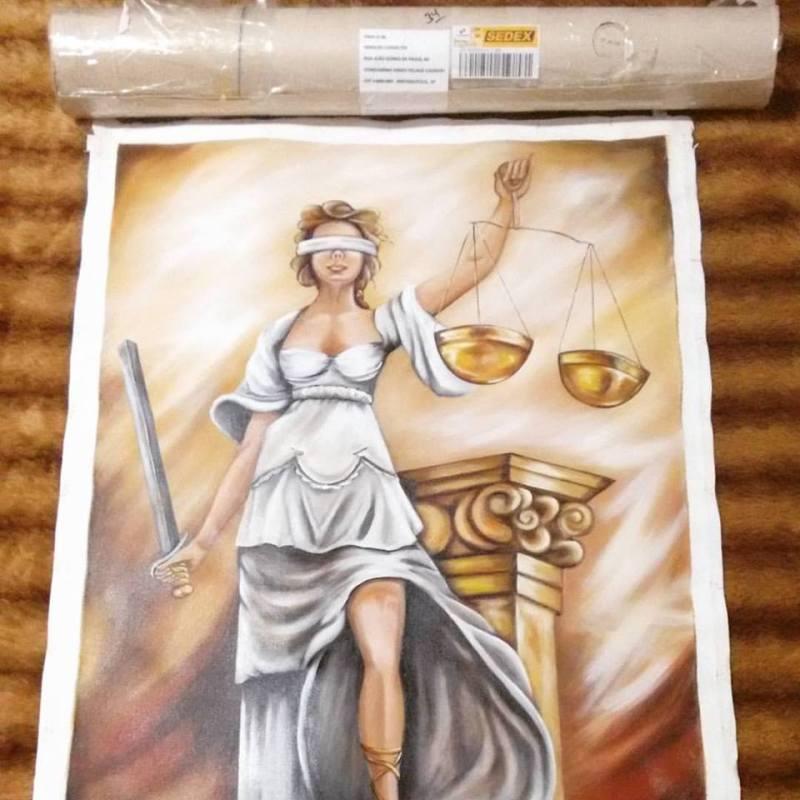 A tela pintada pelas mãos da artista plástica Glaucia Scherer, imagem que está na capa do livro.