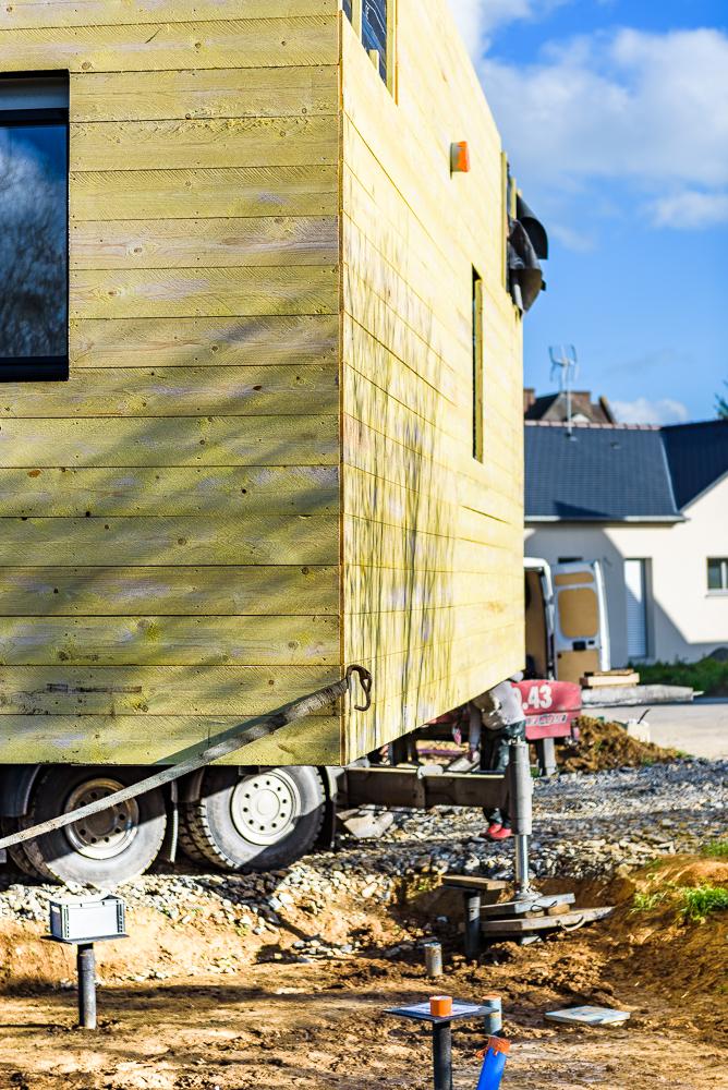 photographe d'architecture ©INTERVALphoto : Blockwood, chantier mise en oeuvre, maison individuelle, Retier, 35.