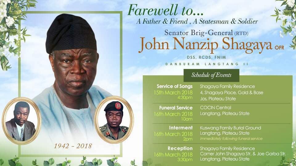 Gen John Shagaya for Burial March 16th, 2018
