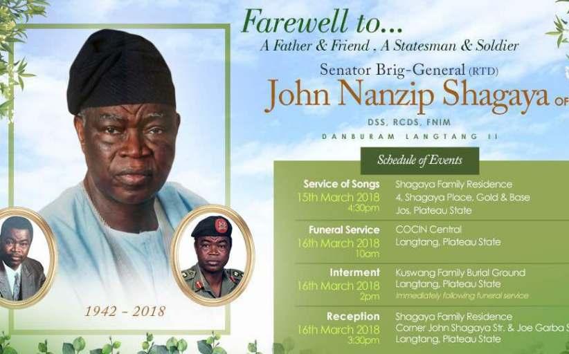 Gen John Shagaya for Burial March 16th, 2018