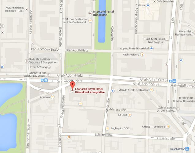 Mapa Hotel Leonardo Royal Dusseldorf
