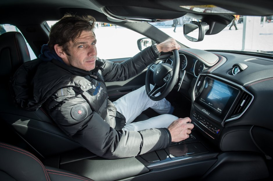 England Polo Star Malcolm Borwick test drives a Maserati Ghibli on the snow - Snow Polo World Cup St Moritz 2018 (21).JPG