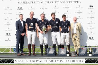 TETBURY, ENGLAND - JUNE 10: Maserati Royal Charity Polo Trophy 2018 – Team photo including James Cowan (L), Prince William, Duke of Cambridge (2ndL), Malcolm Borwick (3rdR) and Mike Biscoe (R) following the Maserati Royal Charity Polo Trophy 2018 at Beaufort Polo Club on June 10, 2018 in Tetbury, England. (Photo by Chris Jackson/Getty Images for Maserati / La Martina) *** Local Caption *** Malcolm Borwick; James Cowan; Mike Biscoe; Prince William; Duke of Cambridge