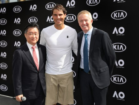 2019 Australian Open Rafael Nadal hands over the Kia Fleet Rafael Nadal, World No.2 with Craig Tiley, Australian Open Tournament Director and .James Cho, Kia Motors Australia CEO and President Federation Square January 9 2019 Photo Fiona Hamilton/Tennis Australia