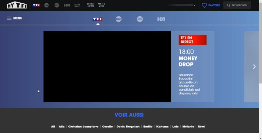 direct TF1 live stream écran noir, bloqué