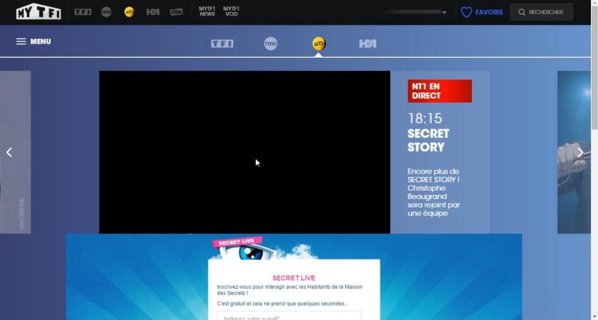 direct NT1 live stream écran noir, bloqué