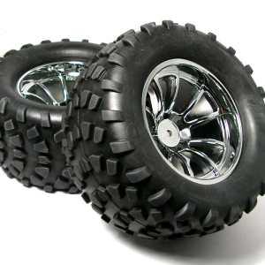 Chromfælge m. dæk til 1/10 monster 4