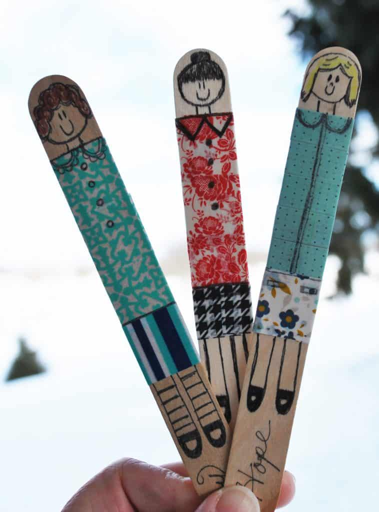 Popsicle Stick Dolls with Washi Tape