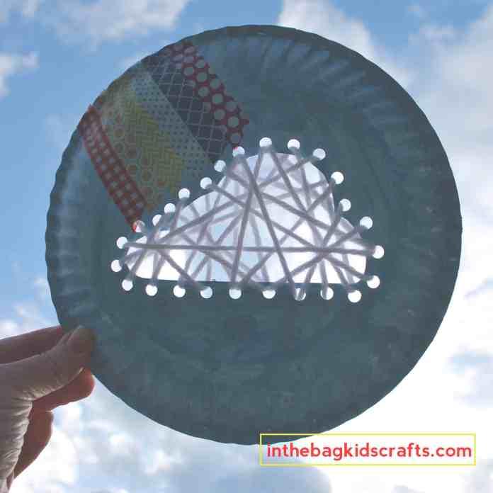 Easy Kids' Craft DIY Cloud Weaving with Washi Tape Rainbow