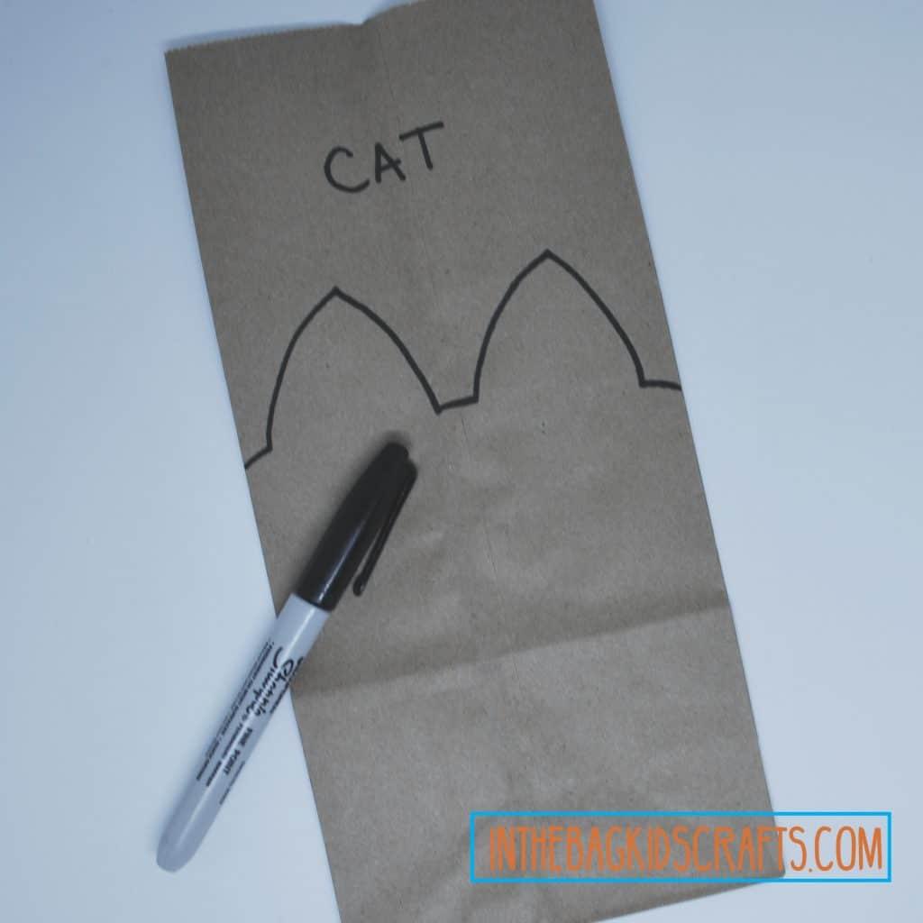 Cat gift bag step 1