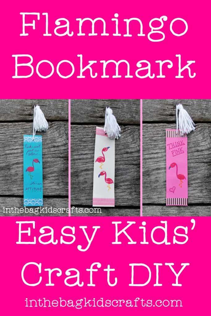 Easy Kids' Craft Fingerprint Flamingo Bookmarks