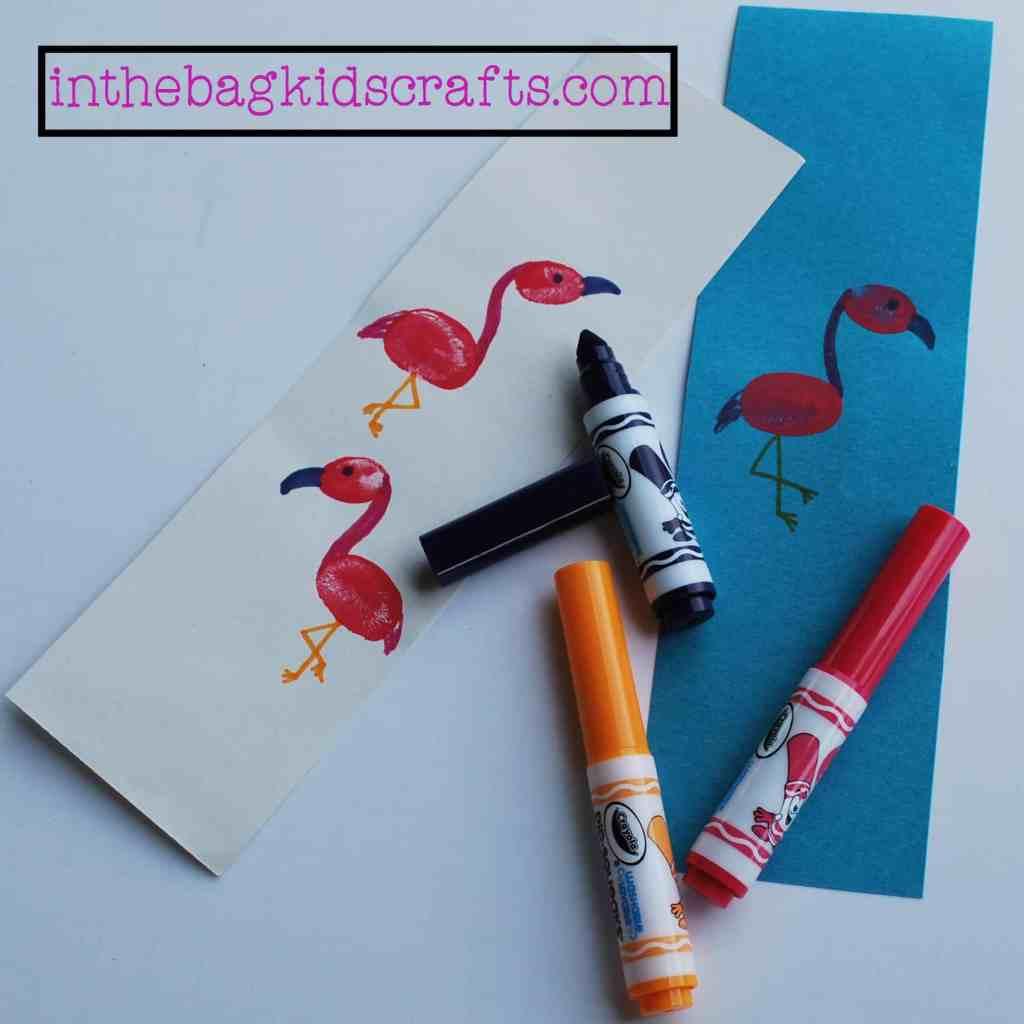 Easy Kids' Craft Fingerprint Flamingo Bookmark