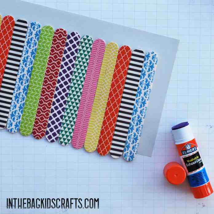 popsicle stick kids craft pencil holder step 3