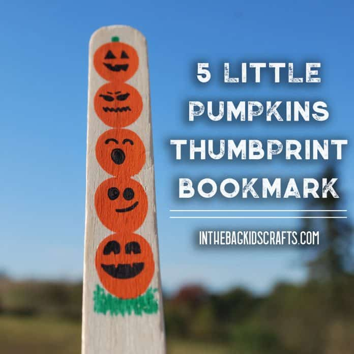 5 little pumpkins craft fingerprint bookmark