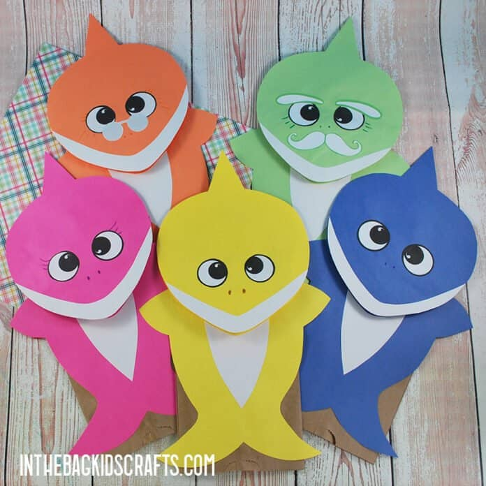 SHARK CRAFTS FOR KIDS BABY SHARK PUPPETS WITH FREE TEMPLATES