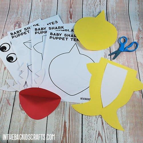 SHARK CRAFTS FOR KIDS BABY SHARK PUPPETS STEP 1