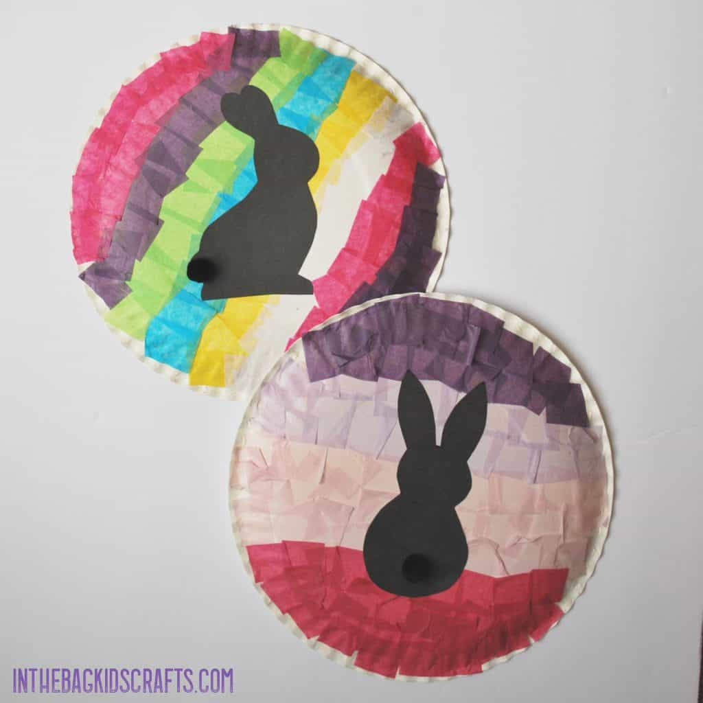 ACTIVITIES TO DEVELOP FINE MOTOR SKILLS BUNNY SILHOUETTE  CRAFTS WITH TISSUE PAPER