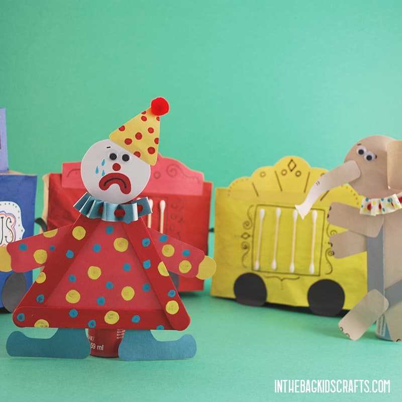 CIRCUS TRAIN CRAFT WITH CLOWN AND ELEPHANT