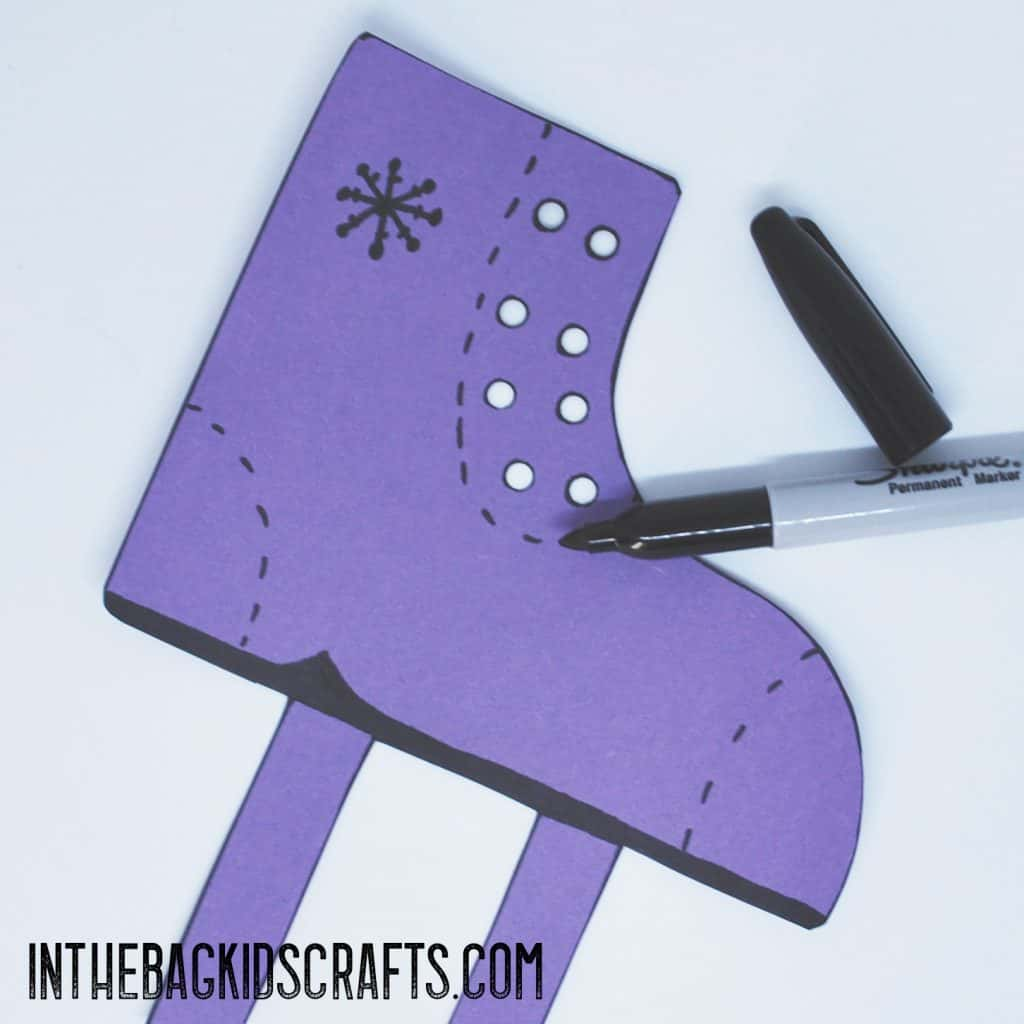 Add the details to your ice skate craft