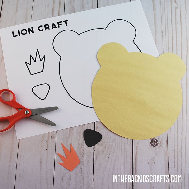 LION CRAFT STEP 4 CUT OUT THE LION CRAFT TEMPLATE