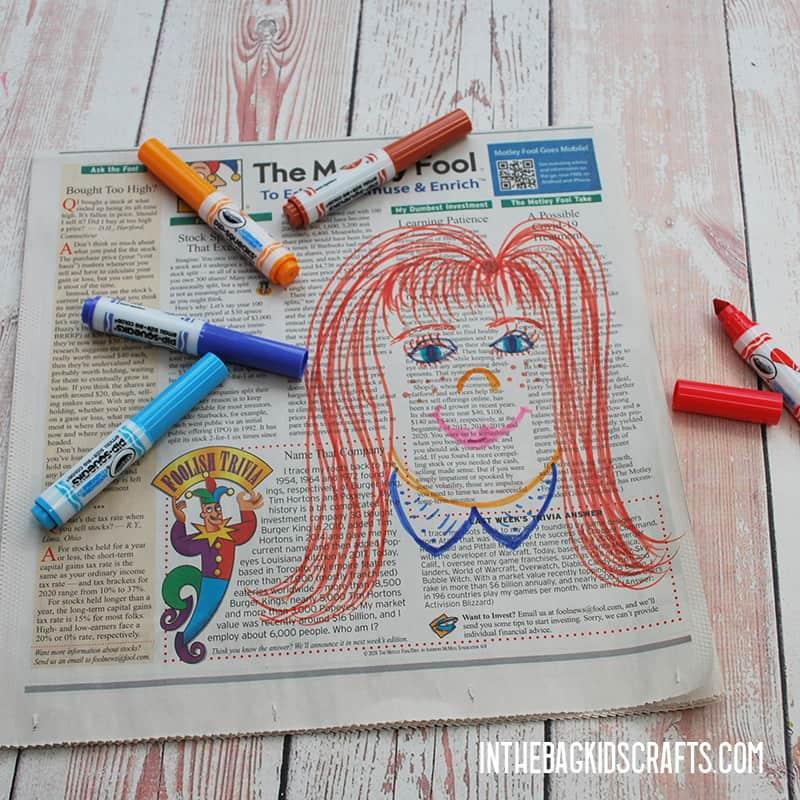 NEWSPAPER CRAFTS FOR KIDS STEP 1