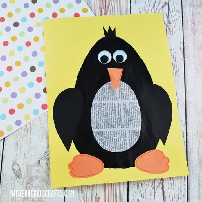 PENGUIN CRAFT FOR KIDS WITH RECYCLED NEWSPAPER AND FREE PRINTABLE CRAFT TEMPALTE