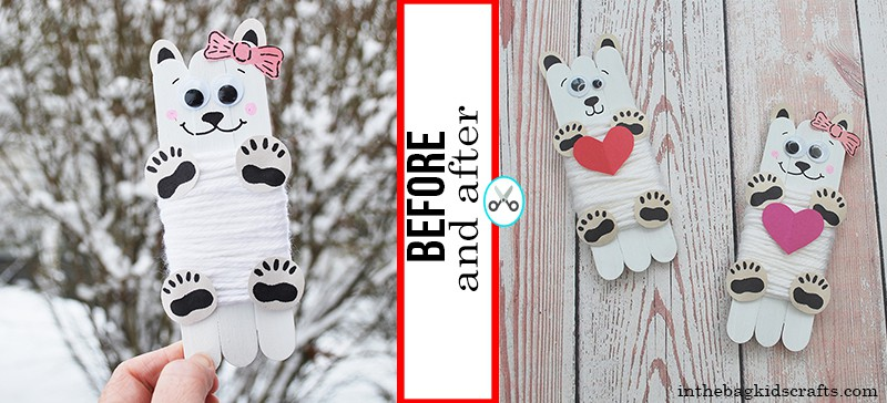 Valentine Craft for Kids Polar Bears Before and after