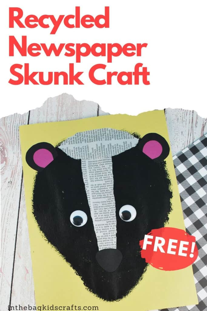 SKUNK CRAFT FOR KIDS WITH RECYCLED NEWSPAPER STRIPES