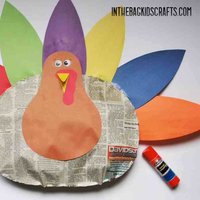 stuffed Thanksgiving turkey kids' craft step 6
