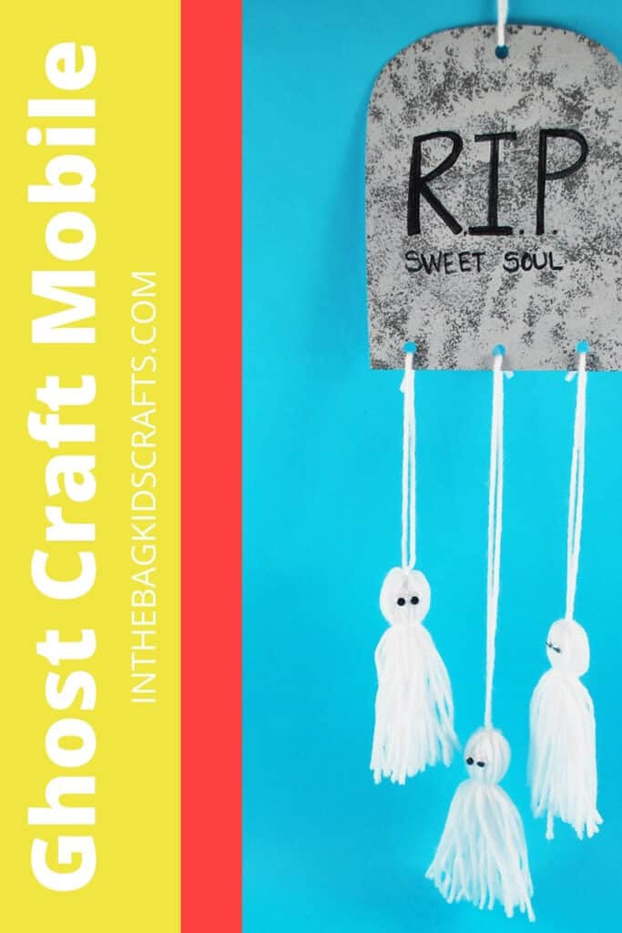 HALLOWEEN CRAFT FOR KIDS WITH YARN GHOSTS