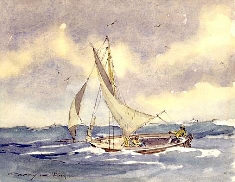 Percy Dalton Fal estuary oyster dredger painting