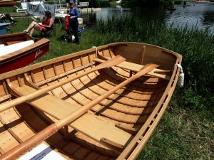 Francis Rayns clinker-built dinghy at the Beale Park Thames Boat Show