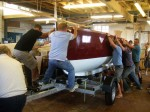 Getting Teddy and Neil's boat onto the trailer, academy, boat building, boat design, boat plans, ebihen, francois, gaff cutter, Lyme, neil walker, photos, sailing, vivier, water ballast, yvonne green