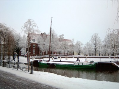 Sailing tjalk Jantje at Nordhorn, winter 2010