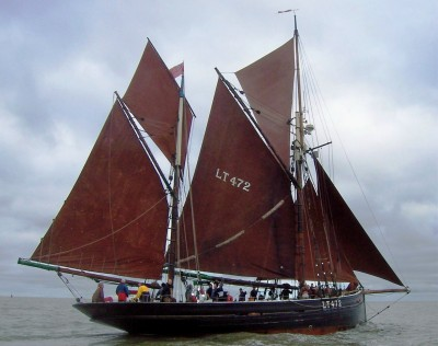 Fishing trawler Excelsior all sail set
