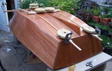 Christine DeMerchant builds Chuck Merrell's Applie Pie dinghy