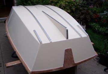 Christine DeMerchant builds Chuck Merrell's Applie Pie plywood dinghy