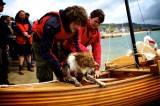 Chris, Colleen and Cally preparing the EllaJen's maiden voyage. Photograph by Jenny Steer