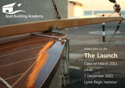Boat Building Academy student launch December 2011 invitation