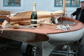 Michael Tyler's catboat 'Lucie' at the BBA student launch December 2011