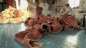 Stills from the film Red Sails about the working boats we call sailing barges