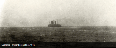 The last photo of the Lusitania before she was sunk by a U boat torpedo in 1915