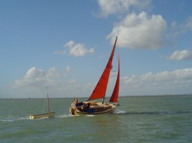 Nick's Whimbrel heeling well, sailing near Southend Pier - picture, Ian Kemp