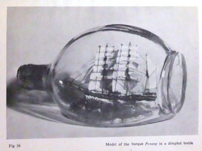 Model of the barque Penang in a dimple whisky bottle
